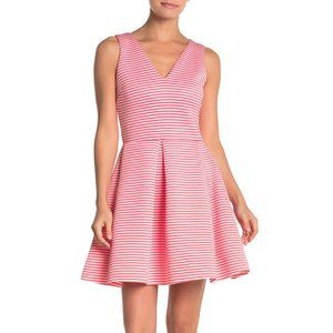 Love...Ady V-Neck Sleeveless Striped Pleated Dress